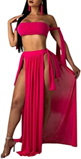 Women's Three Piece Sexy Off Shoulder Swimsuits with Maxi Slit Skirt Cover Up Sleeveless Bikini Three Piece Sets S-XL