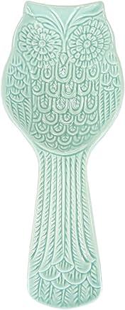 Home Basics Tropical Ceramic Spoon Rest (Blue Owl)