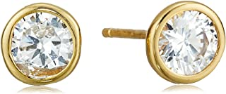 Amazon Essentials Gold or Rhodium Plated Sterling Silver AAA Cubic Zirconia Bezel Stud Earrings