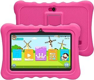 Tablet 7 '' Pulgadas Android para Niños,CPU Quad-Core,1 GB RAM + 8 GB ROM,iWawa Software,WiFi,Google Play,Bluetooth,Dual Camara,Educativos(Rosa)