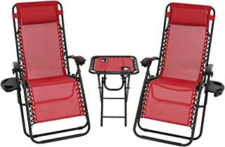 Sunnydaze Outdoor Zero Gravity Reclining Lounge Chairs Set of 2 with Pillows, Cup Holders and Matching Table with Built-in Cup Holders, Red