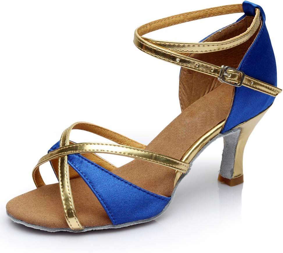 Lefuyan Ballroom Latin Tango Salsa Dance Shoes for Women, 2.5 Inch Heel Soft and Comfortable,Blue,38