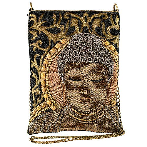Mary Frances Dharma, Beaded Buddha Crossbody Handbag, Gold
