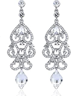 Janefashions Large Sexy White Blue Peach Gold Austrian Crystal Rhinestone Chandelier Dangle Earrings Earring Bridal E2084