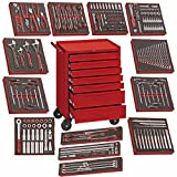 Teng Tools 240 Piece Complete Mixed EVA Foam General Hand Tool Kit With Free Heavy Duty Toolbox Storage Roller Cabinet (Mega Bundle 2) - TCW707EV-KIT3