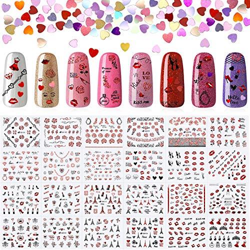 24 Hojas de Calcomanías Pegatinas Autoadhesivas de Uñas para Día de San Valentín y Lentejuelas de Uñas de Corazón de 12 Colores Lentejuelas Brillantes de Arte de Uñas para Decoración de Uñas
