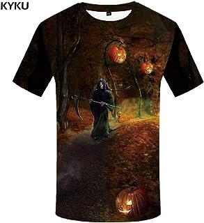 5cb0a46cc77 KYKU Camiseta de Halloween Hombres Imprimir Camiseta Calabaza Camiseta 3D  Moon Castle Camisetas Divertidas Harajuku Fresco