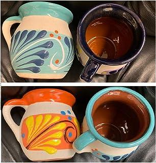no!no! 4 Mexican Coffee Mugs Jarritos Mexicanos Flower Design Tazas de Barro Micnocana Ponchero Hot Chocolate Champurrado ...
