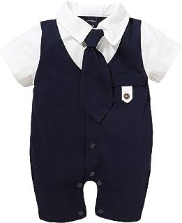 Qiraoxy Nouveau-Né Bébé Garçon Cravate à Manches Courtes Barboteuse Type Gentleman Combinaison pour 0-18 M Bébé Vêtements ...