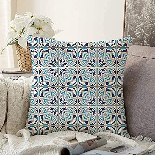 Funda de cojín decorativa de color turquesa, diseño floral blanco tunisiano basada en España, italiano, textura tradicional de suelo cuadrada, funda de cojín para sofá, 17 x 17 pulgadas