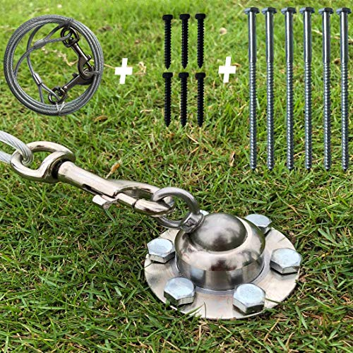 Dog Tie Out Stake, 360 Swivel Dog Chains Stake for Outside Yard with 10ft Heavy Duty Cable, Outdoor Dog Anchor Support Play Training Pull up to 1100lbs for S M Large Dogs in Garden Camping and Ground