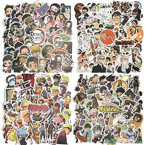 Anime Stickers Mixed Pack, Haikyuu Stickers Naruto My Hero Academia Demon Slayer Laptop Skateboard Stickers for Adult, Teens( 200PCS Grey )