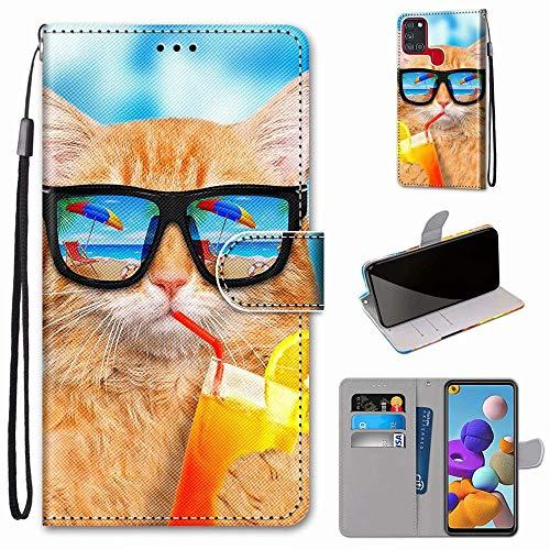 Miagon PU Cuir Coque pour Samsung Galaxy A21S,Coloré Motif Portefeuille Étui Housse Cover avec Stand Support Porte-Cartes de Crédit,Soda Chat