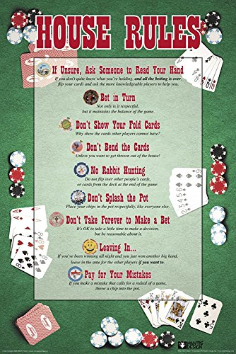 Poker House Rules Novelty Card Game Decorative Humor Poster Print (24X36 UNFRAMED Poster)
