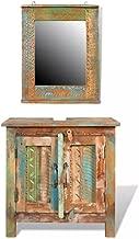 vidaXL Reclaimed Solid Wood Bathroom Vanity Cabinet Set Mirror 2 Doors Vintage Style