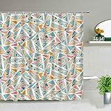XCBN Cortina de Ducha Patrón de Mosaico Originales Cortinas de baño Juego de decoración con Ganchos A5 180x200cm