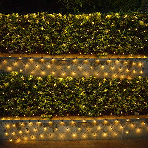 Solar Christmas Mesh Lights w/ Remote Timer, 10ft x 4.9ft 180 LED Waterproof Net String Lights for Outdoor Trees, Patio Bushes, Wedding Party, Front Back Yard, Porch, Balcony Decorations (Warm White)