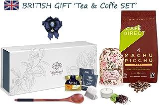 Whittard Chelsea TEA SET & CAFEDIRECT Machu Picchu with a Tea Spoon | Queen Brooch | Honey jar | Mini storage Tea box | Tea-candle