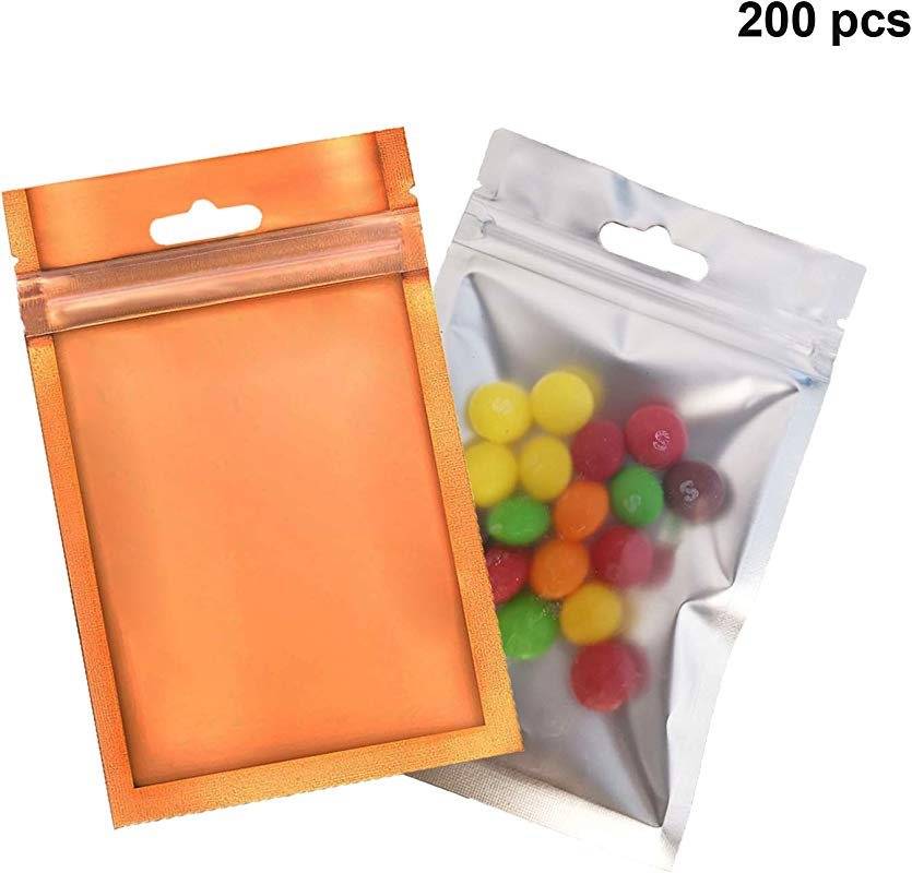 200 Pcs Mylar Zip Lock Bags Durable Aluminum Foil Bags Flat Open Top Resealable Double Sided Metallic Foil Mylar Flat Zip Lock Bag For Coffee Beans Candy Nuts 3 6x5 3 Orange