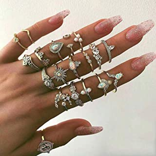 Missgrace Vintage Boho Womens Knuckle Rings for Girls Stackable Midi Joint Finger Ring Set Hollow Carved Flowers for Women...
