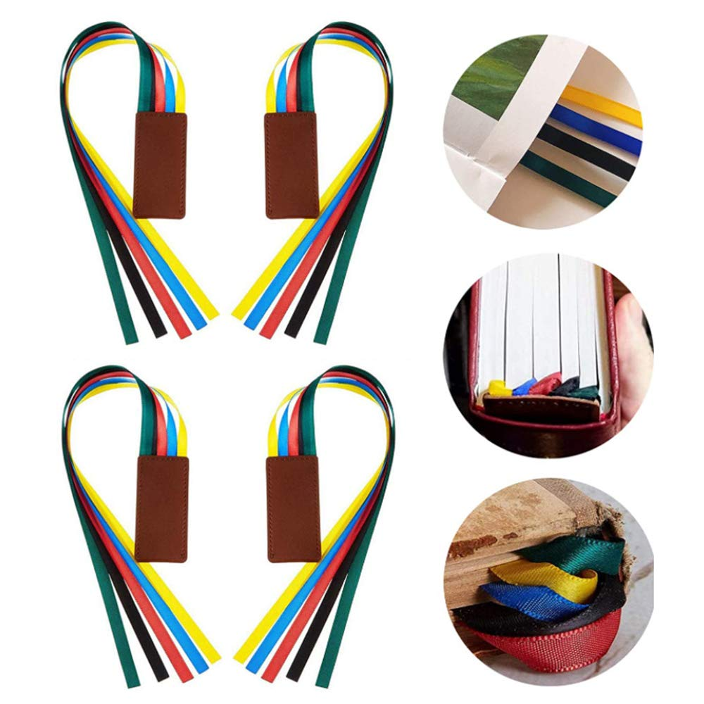 3 Pieces Ribbon Bookmark Multi Ribbon Page Marker Artificial Leather Bookmark Bible Bookmark,PHOENIXTANG Bookmark with Colorful Ribbons for Books