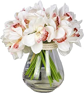 12 PCS High Quaulity Latex Real Touch Cymbidium Orchid Artificial Flower Bouquet for Wedding Holiday Bridal Bouquet Home Party Decor bridesmaid (White)