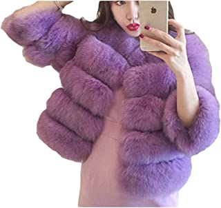 Women's Faux Fur Short Parka Outwear Warm Long Sleeve Luxury Chunky Cardigan Tops for Work Daily