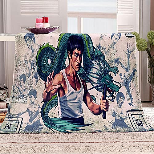 Mantas 3D Bruce Lee - Manta de forro polar suave con diseño de estrella china, manta de microfibra cálida para la oficina, ropa de cama para sofá o sofá de 150 x 200 cm