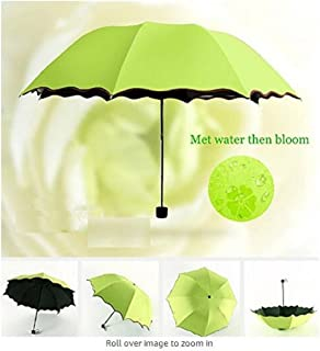 Wendin Folding Umbrella Magical Bloom Flower in Rain Water Fashion Exquisite Windproof Sunshade for Women Girl Outdoor Sports Camping Walk Travel Parasol UV Protection