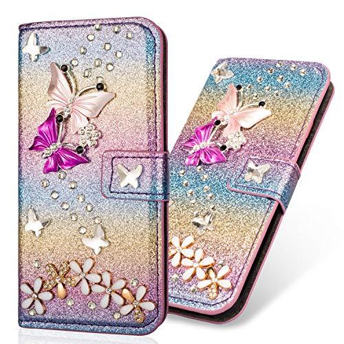 Magnétique Housse Coque Étui Bookstyle Ultra Slim Flip Wallet Butterfly Fleur Bling Glitter Brillante Diamant Protection[Porte-cartes] Portefeuille Cover pour Samsung A9 2018