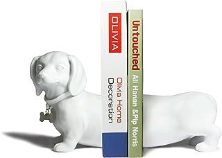Danya B. Dachshund Bookend Set, White