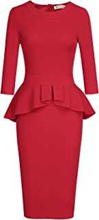 MUXXN Women's Crew Neck Peplum Knee Length Party Pencil...