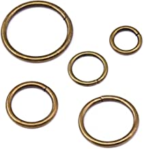 Swpeet 50 Pcs Bronze Assorted Multi-Purpose Metal O Ring for Hardware Bags Ring Hand DIY Accessories - 15mm, 19mm, 25mm, 32mm, 38mm