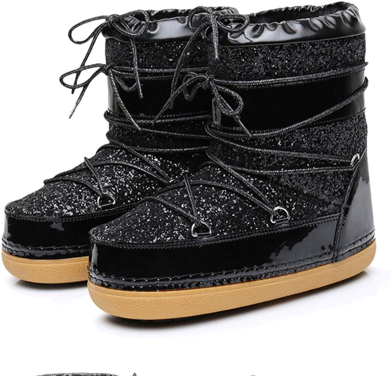 JOYBI Women Warm Platform Snow Boots Round Toe Comfortable Flat Glitter Non Slip Lace Up Winter Ankle Boots