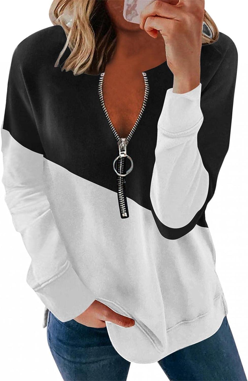 Womens Sweatshirts,Womens Trendy Sweatshirt Fashine Print Color Matching Oversized Loose Teen Girls Shirt Pullover