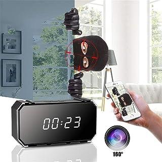 ZOUJIN Wifi 4K Spy Hidden Camera Night Vision DVR IR Motion Detection Battery Clock (Color : Black)