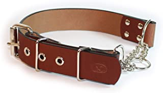 """sleepy pup Big Dog Adjustable 1.5"""" Leather Martingale Chain, Limited Slip, Half-Check Chain, Training Dog Collar - Made in..."""