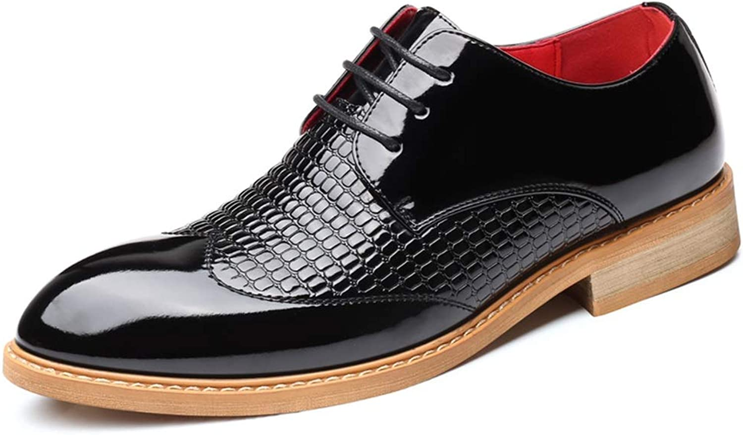 Business Oxford shoes for Men Formal PU Leather Lace-up Retro Embossing Vamp Cricket shoes