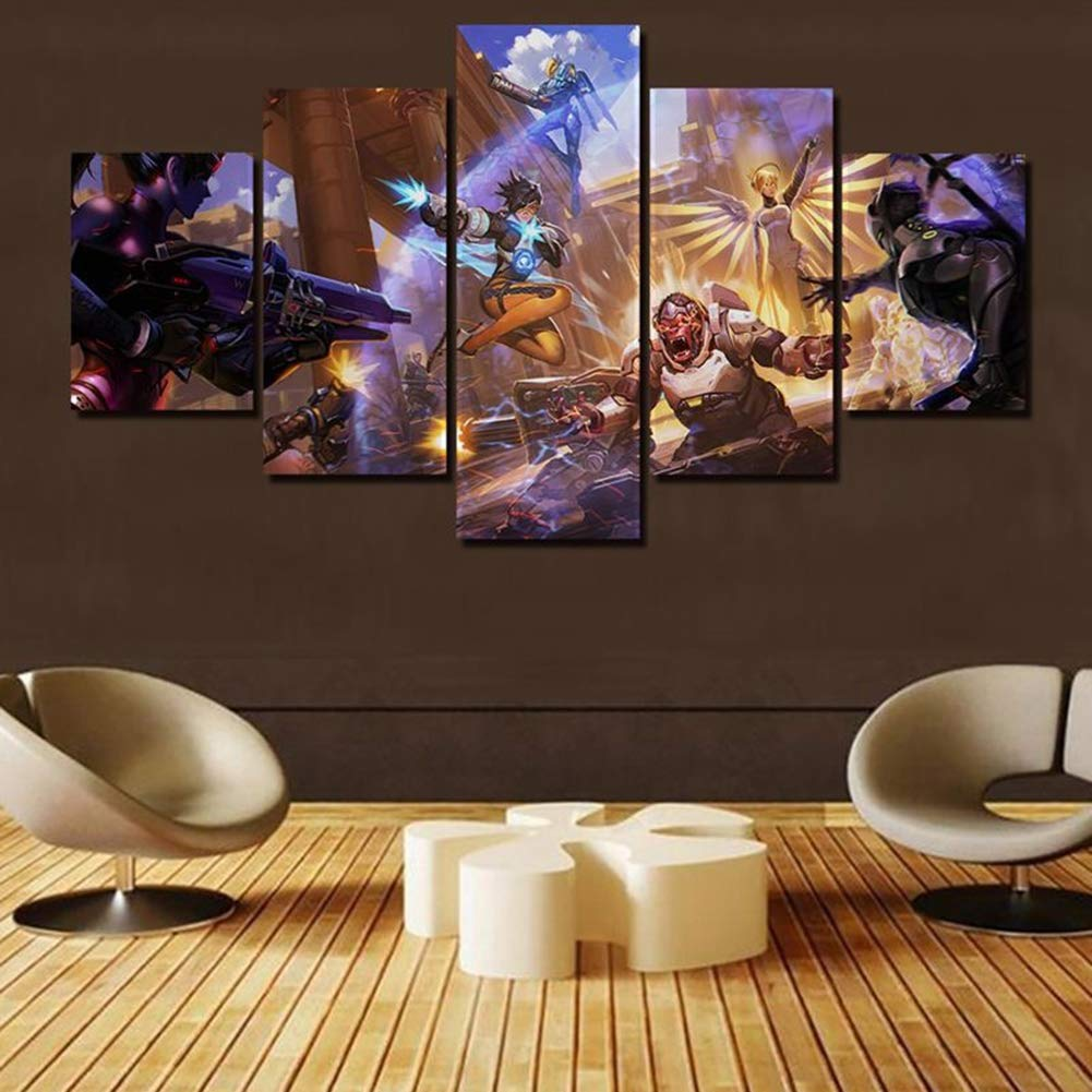 Zemer Overwatch Game Pictures Wall Art Painting Prints On Canvas Modern Giclee Artwork Decoration For Home Living Room Bedroom Bathroom Teen 5 Pieces Set B 20x30x2 20x40x2 20x50x1 Buy Online In Burundi At Desertcart Com