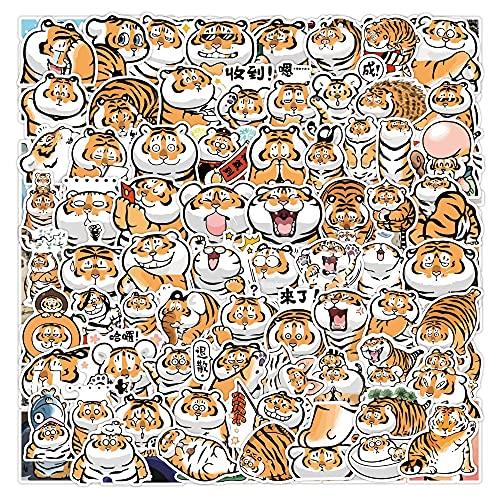 YOUYOU Cute Tiger Cartoon Emoji Bag Graffiti Notebook Maleta Coche Decorado Impermeable Etiqueta Juguete Al Por Mayor 50pcs