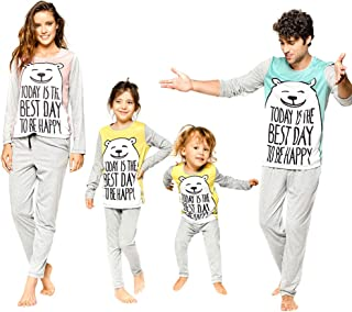 chinatera Family Matching Clothes Pajamas Sleepwear Set Cute Cartoon Bear  Cotton Kids Toddlers Men Women T 8be6ca31c