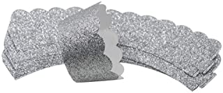 Mybbshower Silver Glitter Scalloped Cupcake Wrappers for Wedding Birthday New Year Eve Cake Decoration Pack of 24