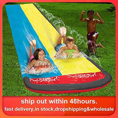 HCHD Slide 610x145cm Niños Doble Surf Agua Diapositiva Al Aire Libre Jardín Racing Lawn Spray De Agua De Verano Juegos De Agua De Juguete Tobogán Aquatiqu