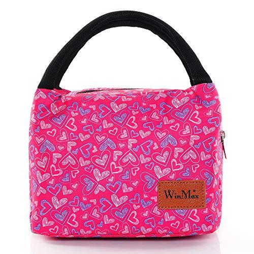 winmax Kühltasche Klein Leicht Lunch Tasche Isoliertasche zur Arbeit Schule Faltbar Wasserdicht hohe dichte Linning 6,5L Rosa
