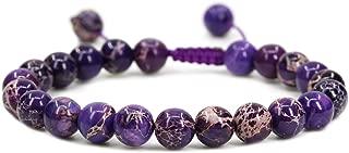 AMANDASTONES Handmade Gemstone 8mm Round Beads Adjustable Braided Macrame Tassels Chakra Reiki Bracelets 7-9 inch Unisex