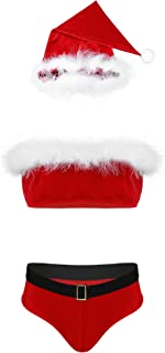 CHICTRY Men's Christmas Santa Claus Costume Lingerie Sets Red Velvet Crop Top and Briefs Outfit