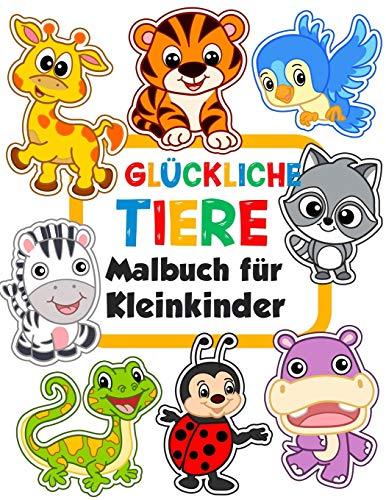 Glückliche Tiere Malbuch für Kleinkinder: 100 lustige Tiere. Einfaches Malbuch für Kinder im Vorschulalter. (Malbuch ab 1 jahr, Band 1)