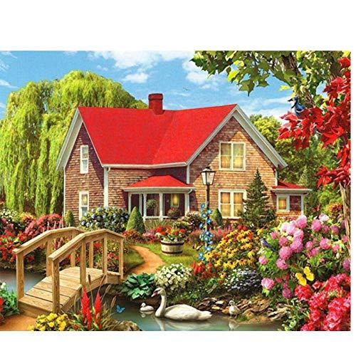 JUNYYANG Landscape Garden Cottage Diamond Painting DIY 5D Kits de Taladro Completo para la decoración de la Pared del hogar, Crystal Rhinestone Bordstone Pictures Gift, 40x50cm