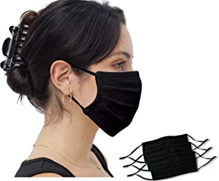 3 Pack Simlu Unisex Reusable Pleated Fabric Face Mask with Adjustable Elastic, 2 Layer, Washable, Nose Wire Black Face Mas...