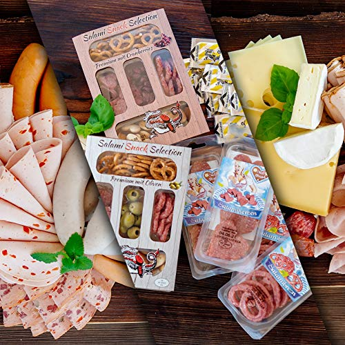 WURSTBARON® Wurst & Käse Probierpaket 4,3kg - Wurstpaket mit Wiener Würstchen, Käsekrainer, Currywurst, versch. Käsesorten , Aufschnitt, Salami Brezeln & Herzen, Pikanten Salami-Snack